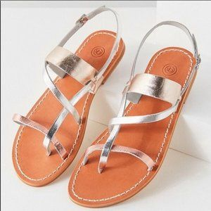 Urban Outfitters Leather Metallic Leather Sandal
